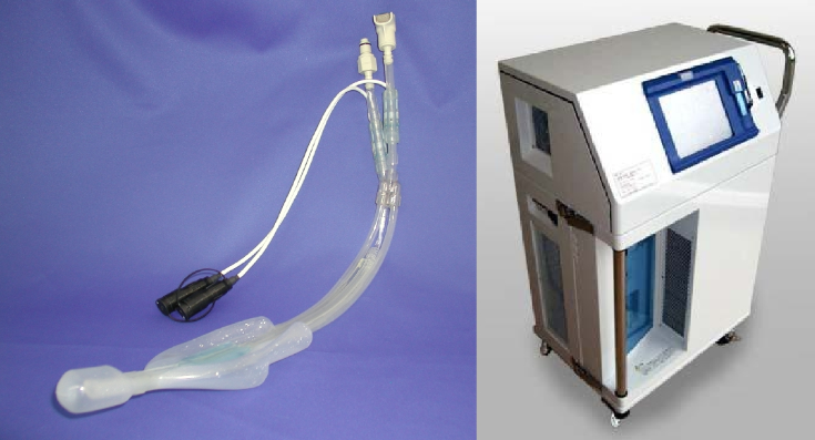 Pharyngeal cooling cuff (left) and circulator (right)